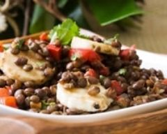 Recette salade de lentilles au poulet et huile de pomme
