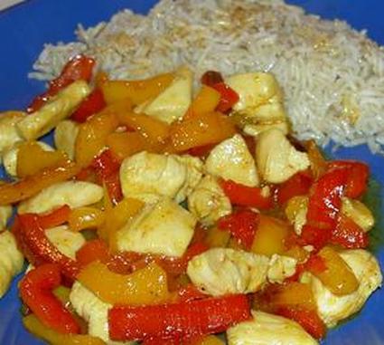 Recette de poulet et poivrons sauce curry