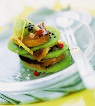 Recette de mille-feuille de kiwis et de foie gras poêlés