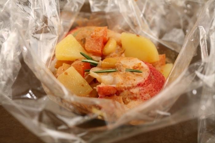 Recette de papillote translucide de pommes de terre et homard ...