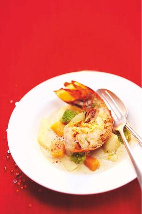 Recette de nage de langouste au chablis, légumes anciens de picard