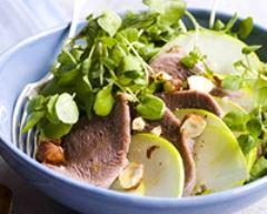 Recette salade de langue de boeuf tiède, cresson, pommes vertes ...