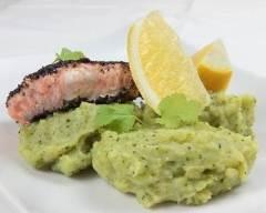 Recette saumon aux graines de pavot et purée de brocolis