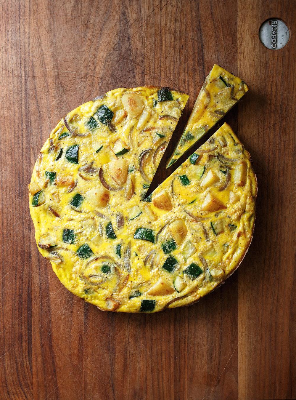 Omelette aux courgettes et aux pommes de terre rissolées | ricardo
