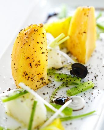 Recette de salade de kaki persimon à la morue
