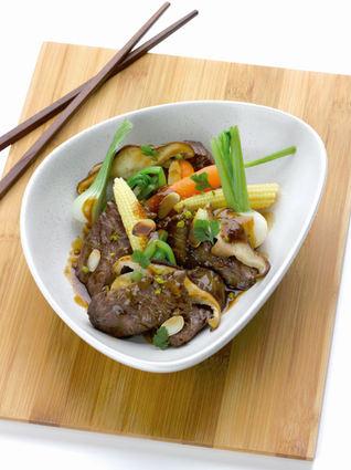 Recette de wok d'onglet de veau flambé au calvados, pleurotes ...