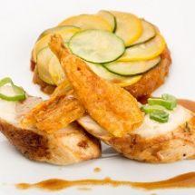 Médaillons de volaille au foie gras et sauce morille
