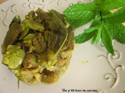Recette de tajine d'agneau aux artichauts violets, fèves et courgettes