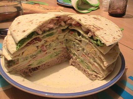 Recette de gâteau de tortillas au thon, surimi et crevettes
