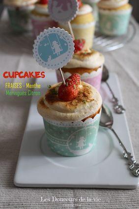 Recette de cupcakes fraises-menthe meringués citron