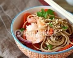 Recette nouilles sautées aux crevettes et aux légumes