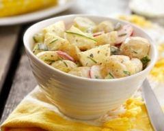 Recette salade de pommes de terre minceur aux radis et concombre