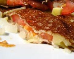 Recette galette végétarienne au cantal, tomates, oignons ...
