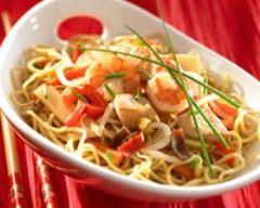 Recette nouilles chinoises aux crevettes et au poulet