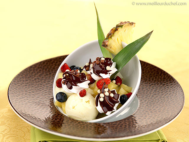 Verrine de sorbet ananas/coco et meringuettes chocolatées  fiche ...