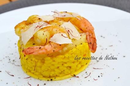 Recette de risotto jaune aux gambas et ananas sur lit d'omelette