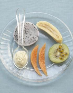 Fruits exotiques, sauce chocolat blanc pour 4 personnes