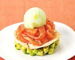 Recette millefeuille de saumon fumé, sorbet citron vert