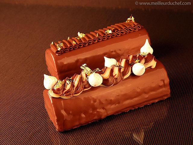 Bûche aux deux chocolats et poires  recette de cuisine avec ...
