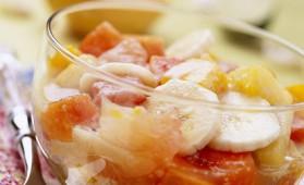 Salade de fruits exotiques et son sirop à la pina colada pour 6 ...