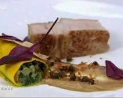 Recette côte de veaux rôties avec canneloni végétarien au safran