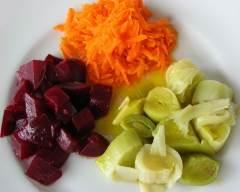 Recette salade composée aux betteraves, carottes et poireaux