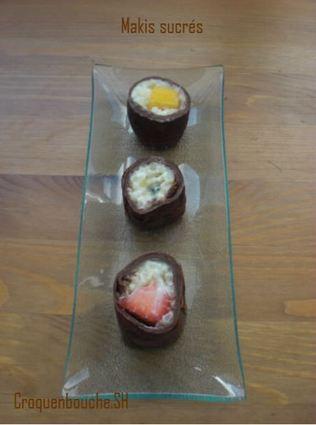Recette de makis sucrés de crêpes au chocolat et fruits
