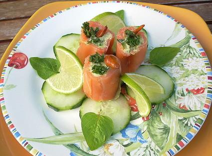 Recette assiette de saumon farci truite et avocat