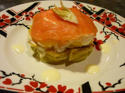 Recette de mille-feuille coeur coulant saumon artichaut