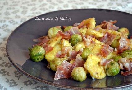 Recette de tortellini et choux de bruxelles poêlés au lard et ...