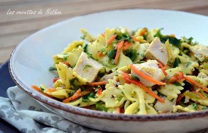 Recette de salade de pâtes au poulet, vinaigrette moutarde et curry ...