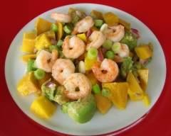 Recette salade d'avocat, mangue et crevettes