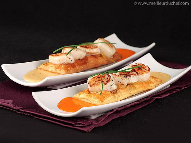 Feuilleté de saint-jacques à la crème d'ail  recette de cuisine ...