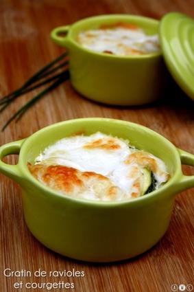 Recette de gratin de ravioles, courgettes et mozzarella