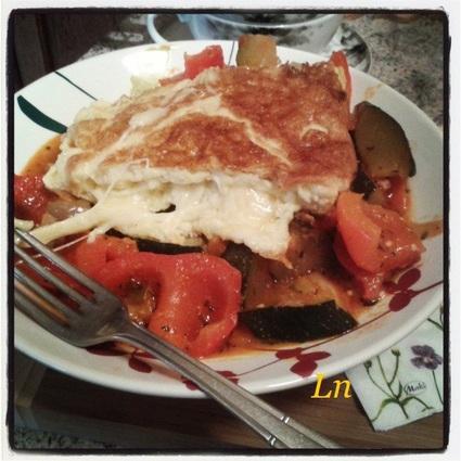 Recette omelette au fromage à la ratatouille