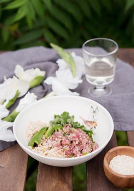 Bol de tartare de bœuf asiatique & rice krispies