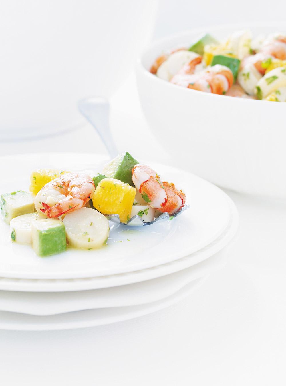 Salade de coeurs de palmier et de crevettes | ricardo