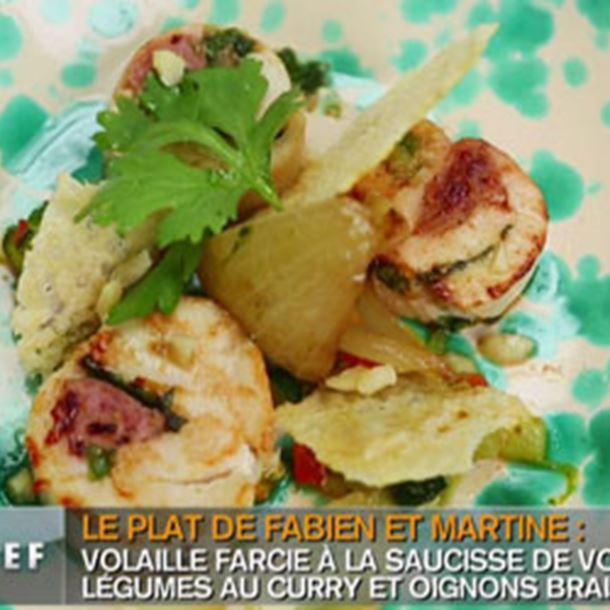 Recette rouleaux de volaille, légumes curry basilic