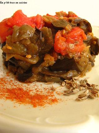 Recette aubergines aux tomates parfumées au cumin et paprika