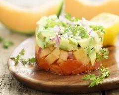 Recette tartare de saumon, avocat et melon