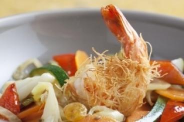 Recette de salade de légumes à la marocaine, gambas en kadaïf ...