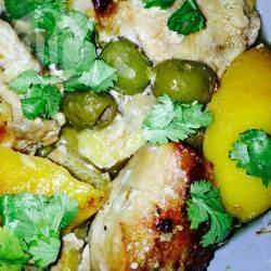 Recette mon poulet citron-olives