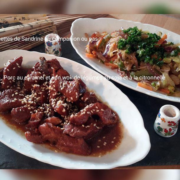 Recette porc au caramel et son wok de légumes croquants au soja ...