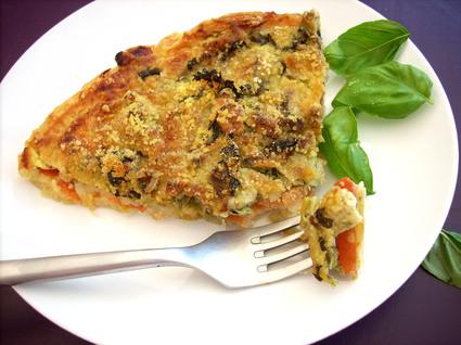 Recette de tarte poulet, pistou, tomates et mozzarella