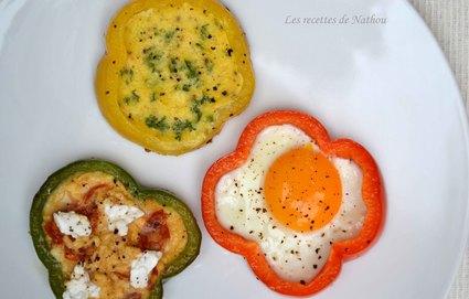 Recette oeufs aux plats en rondelles de poivron