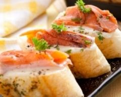 Recette tartines légères gratinées au saumon fumé
