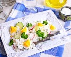 Recette salade de riz au concombre, radis et œufs durs