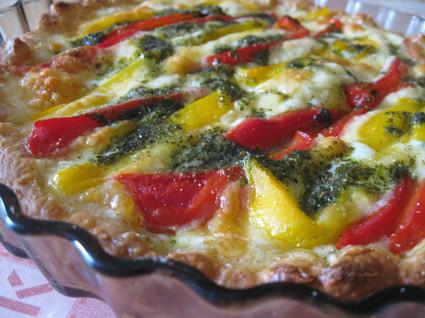 Recette de tarte aux poivrons et à la mozzarella