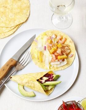 Tacos de poisson, maïs, crevettes pour 6 personnes