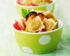 Recette salade de moules aux ravioles à poêler au comté